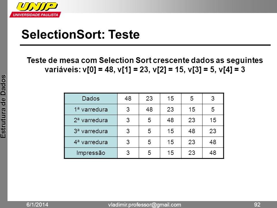 SelectionSort: Teste Teste de mesa com Selection Sort crescente dados as seguintes variáveis: v[0] = 48, v[1] = 23, v[2] = 15, v[3] = 5, v[4] = 3.